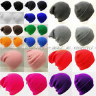Unisex Beanie Solid Color Warm Plain Acrylic Knit Ski Beanie Skull Hat 14 Colors