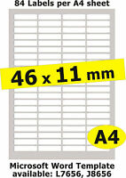46x11mm / 420 Labels / 5 A4 sheets Gloss Clear Transparent Inkjet Stickers