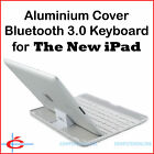 Bluetooth 3.0 Keyboard + Aluminium Cover / Stand for The New iPad iPad 3, White