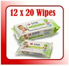 12 pack x 20 wipes (240 Wipes) GAIA Natural Baby BAMBOO WIPES Handy Travel Size