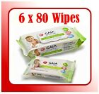6 pack x 80 wipes (480 Wipes) GAIA Natural Baby BAMBOO WIPES 100% Biodegradable