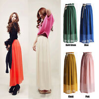 Retro Long Maxi Pleated Skirt Elastic Waist Band Chiffon Gypsy Dress summer