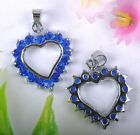 FREE SHIP 5pcs Nice DARK BLUE Crystal heart Charms Pendants 22MM BE1093
