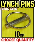 10mm Lynch Pins Linch Clips Trailer Digger Tractor Excavator Spring x10 or x50