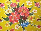 YELLOW HAWAII HIBISCUS FLORAL LUAU KITCHEN DINE OILCLOTH VINYL TABLECLOTH 48x60