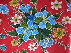 RED HAWAIIAN HIBISCUS FLORAL LUAU KITCHEN DINE OILCLOTH VINYL TABLECLOTH 48x108