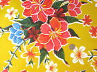 YELLOW HAWAII HIBISCUS FLORAL LUAU KITCHEN DINE OILCLOTH VINYL TABLECLOTH 48x108