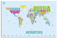 World Map In Words Large Poster New