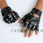 Man's PU Leather Driving Motorcycle Biker Fingerless Gloves Studded Multipurpose