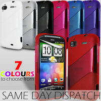 STRIPED WAVE GEL SKIN CASE & SCREEN PROTECTOR FOR HTC SENSATION XE