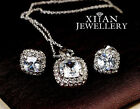 Silver Plated Cushion Cut Swarovski Crystals Earrings and Necklace Set S932