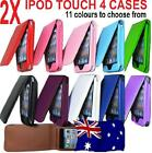 2 X LEATHER FLIP CASE COVERS FOR IPOD TOUCH 4 4TH -11 COLOURS TO CHOOSE FROM