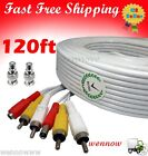 120ft White Audio Video & Power RCA Cable for Qsee Zmodo Security CCTV Camera