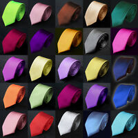 New Mens High Quality Italian Satin Plain Standard Normal  Tie-Fast Delivery!