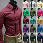 17 Color 5 Size Mens Luxury Casual Slim Fit Stylish Solid Color Dress Shirts