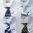 Charles Wilson Men's 100% Cotton Poplin Double Cuff Formal Business Dress Shirt