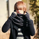 Men's Boys Stylish Plain Autumn Winter Warm Knit Snood Scarf Muffler Black Grey
