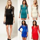 2016 New Vintage Style Scalloped Neck Slim Sexy Cocktail Retro Lace DL Dress