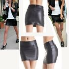 WOMENS CELEB STYLE SYNTHETIC LEATHER LOOK BODYCON MINI SKIRT BLACK SIZE C0036#