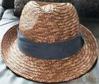 New John Lewis Heavy Weave Ribbon Trilby Straw Hat With Navy Blue Trim. Size L