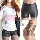 High Waist Leather Look Stretch Shorts Sexy Leggings pants SZ S-L/AU6-14 P132