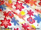 Retro Funky Large RED BLUE Pink Yellow Floral Dots Polycotton Bunting Fabric FQ