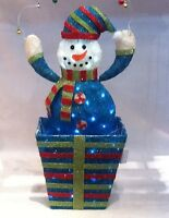 """35"""" Blue Snowman In A Box Christmas Decoration With White LED Lights (RA10277)"""