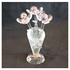 PINK BOUQUET BUNCH CRYSTAL GLASS FLOWERS IN VASE- BEAUTIFUL ORNAMENT GIFT - NEW