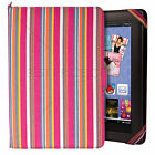 Colorful Pink Striped Canvas Portfolio Cover Case for Google Nexus 7 Tablet