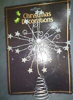 27cm Silver Wired Glitter Star Tree Top Star Christmas Decoration (MI7)