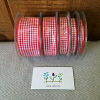 20 Metres Quality BERISFORD Gingham Red Ribbon 5mm GORGEOUS RIBBON CHRISTMAS RED