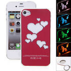 Cool Hearts Sense LED Flash Light Hard Back Case Cover for iPhone 4/4S (RED)