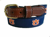 Auburn University Tigers Mens Leather Canvas Embroidered Belt pick your size