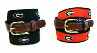University of Georgia Bulldogs Mens Leather Canvas Embroidered Belt    pick size