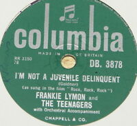 FRANKIE LYMON ~ I'M NOT A JUVENILE ~ UK 78 RPM RECORD ~ ROCK 'N' ROLL ROCKABILLY
