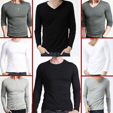 New Mens Slim Fit Long Sleeve Crew V-Neck T-Shirt Cotton Shirts Muscle Tops