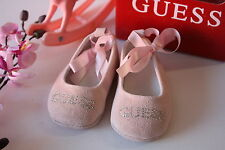 BNIB Genuine Guess Baby Girls Ballerina Shoes Pink Suede Size 0-4