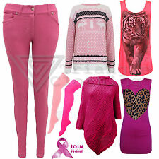 Ladies Womens Pink Breast Cancer Charity Coat Cardigan Top Jumper Socks Onesie