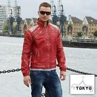 Famous Beat it Red Leather Jacket body hugging slim fit for clubbing 1018