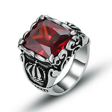 316L Stainless Steel Fashion Mens Crown Red Cubic Zirconia Stone Ring Size 6-11