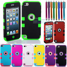 New Multicolor Hybrid High Impact Case Cover For iPod Touch 5th Generation + Pen