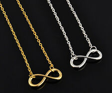 8i Gold Tone or Silver Tone Infinity Pendant Necklace - Choose Color