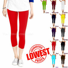 BASIC LADIES STRETCH CROPPED POLY SEAMLESS CAPRI LEGGING YOGA PANTS XS S M L