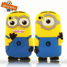 MM 3D Pop Cartoon Despicable Me MINIONS Silicone Case Cover For iPhone 4 4S