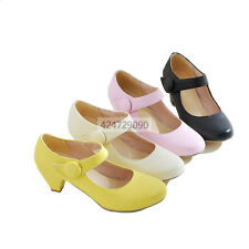 Womens Ladies Mid Kitten Heels Ankle Strap Pumps Miss Causal Shoes Loafers Size
