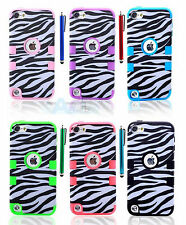 Zebra Hard Plastic Soft Rubber Hybrid Case Cover For iPod Touch 5th Generation