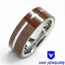 Mens Tungsten Wedding Band Ring Exotic Hard Wood Inlay Titanium Strip Size 8-13