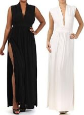 DOUBLE SLIT HIGH WAIST SLEEVLESS DRESS Deep Cleavage V Neck Maxi Two Split Sexy