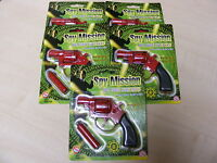 5 x SMALL RED DIECAST DIE CAST METAL TOY CAP GUNS USES 8 SHOT PLASTIC RING CAPS
