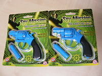 2 x SMALL BLUE DIECAST DIE CAST METAL TOY CAP GUN USES 8 SHOT PLASTIC RING CAPS